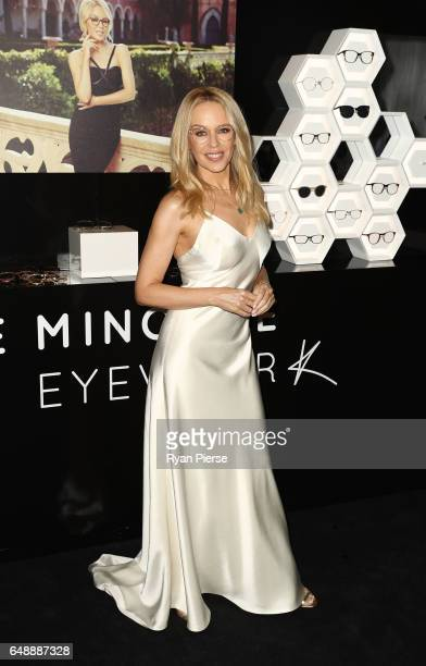 Kylie Minogue poses at the launch of her eyewear collection for Specsavers at the Establishment Ballroom on March 7 2017 in Sydney Australia