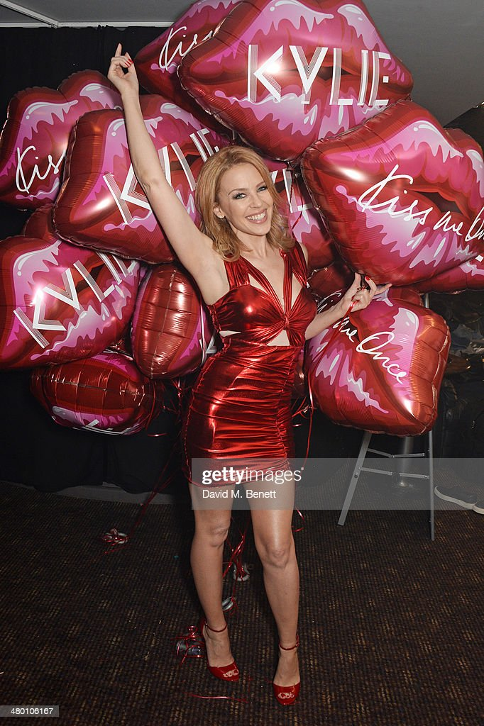<a gi-track='captionPersonalityLinkClicked' href=/galleries/search?phrase=Kylie+Minogue&family=editorial&specificpeople=201671 ng-click='$event.stopPropagation()'>Kylie Minogue</a> poses backstage before performing at G-A-Y on March 22, 2014 in London, England.