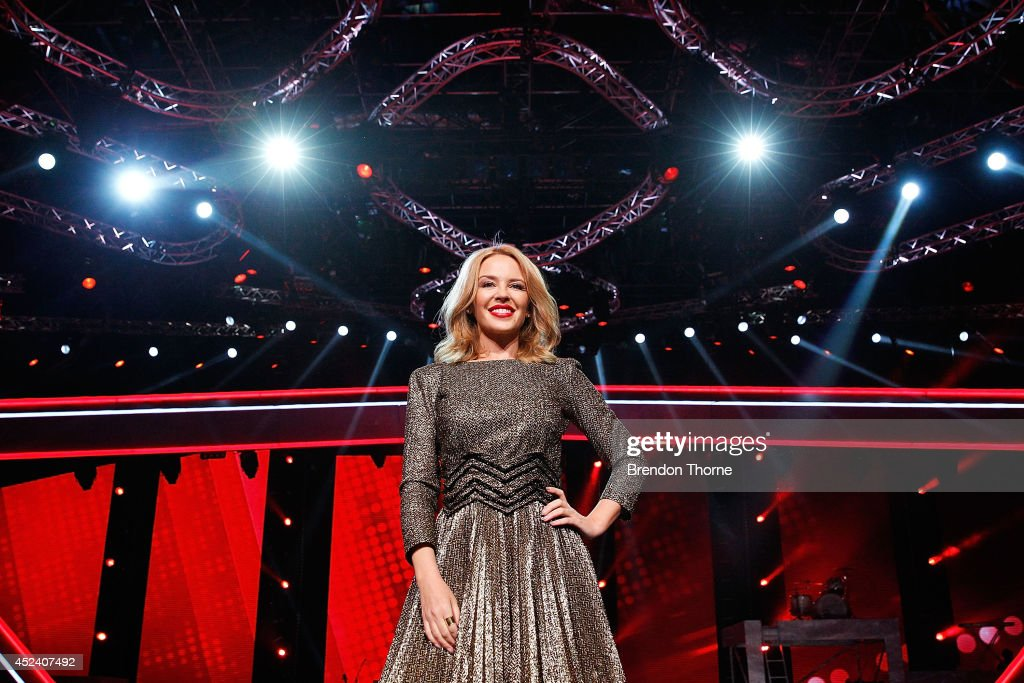 <a gi-track='captionPersonalityLinkClicked' href=/galleries/search?phrase=Kylie+Minogue&family=editorial&specificpeople=201671 ng-click='$event.stopPropagation()'>Kylie Minogue</a> poses during a media call with the final five contestants and their coaches from The Voice at Fox Studios on July 20, 2014 in Sydney, Australia.