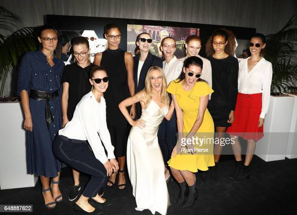 Kylie Minogue poses with models at the launch of her eyewear collection for Specsavers at the Establishment Ballroom on March 7 2017 in Sydney...