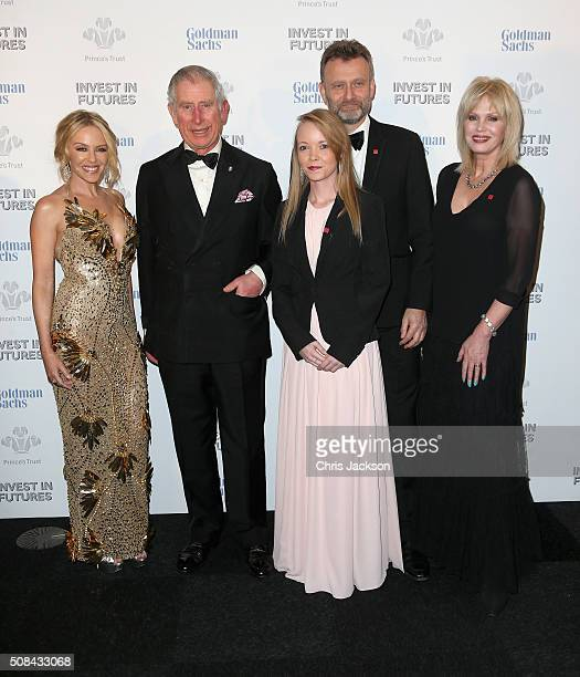 Kylie Minogue Prince Charles Prince of Wales Prince's Trust Ambassador Laura Tombs Hugh Dennis and Joanna Lumley pose as they attend a predinner...