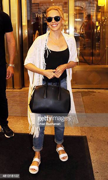 Kylie Minogue sighted departing the Westin Grand Hotel on July 19 2015 in Berlin Germany