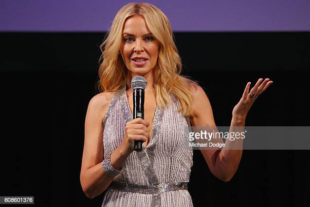 Kylie Minogue speaks during the opening of the Kylie on Stage Exhibition at Melbourne Arts Centre on September 20 2016 in Melbourne Australia