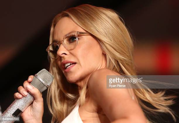 Kylie Minogue speaks on stage at the launch of her eyewear collection for Specsavers at the Establishment Ballroom on March 7 2017 in Sydney Australia