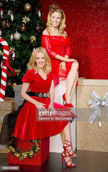 Kylie Minogue visits the Kylie Minogue wax figure special seasonal set at Madame Tussauds on December 8 2015 in London England
