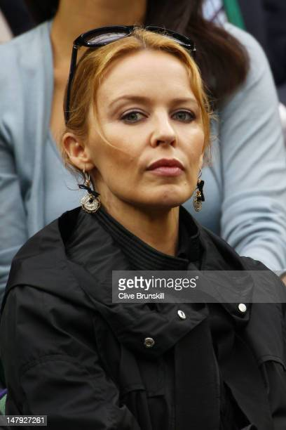 Kylie Minogue watches on from the Royal Box on Centre Court on day eleven of the Wimbledon Lawn Tennis Championships at the All England Lawn Tennis...