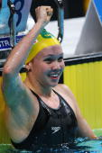 Kylie Palmer of Australia celebrates winning the gold medal in the Women's 200m Freestyle Final during the ninth FINA World Swimming Championships at...