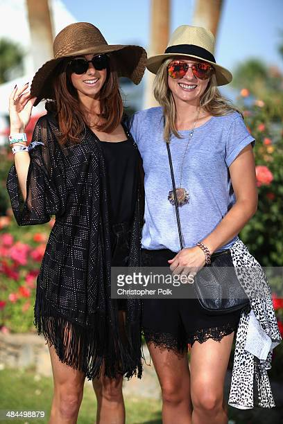 Kylie Tietjens and Gemma Robinson of New Zealand wearing Karen Walker jewelry attend day 2 of the 2014 Coachella Valley Music Arts Festival at the...