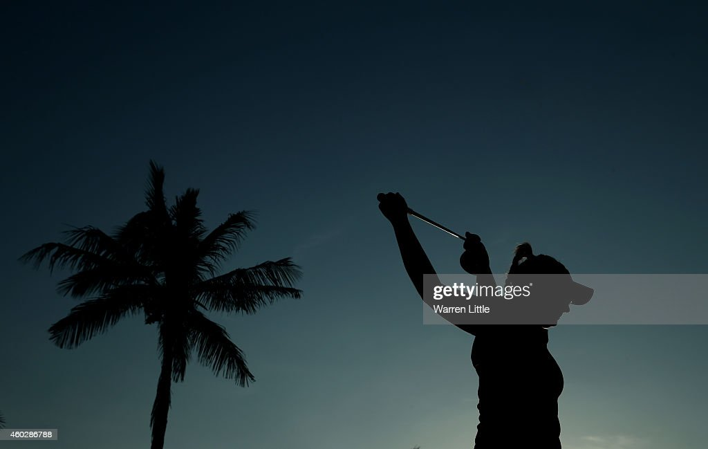 Kylie Walker of Scotland stretches before she starts the second round of the Omega Dubai Ladies Masters on the Majlis Course at the Emirates Golf...