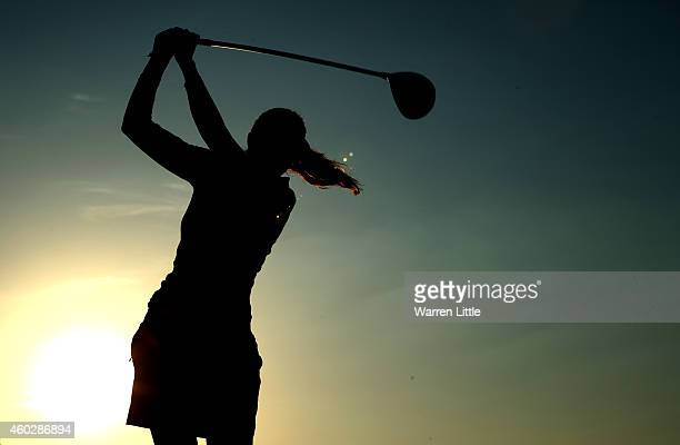 Kylie Walker of Scotland tees off as she start the second round of the Omega Dubai Ladies Masters on the Majlis Course at the Emirates Golf Club on...