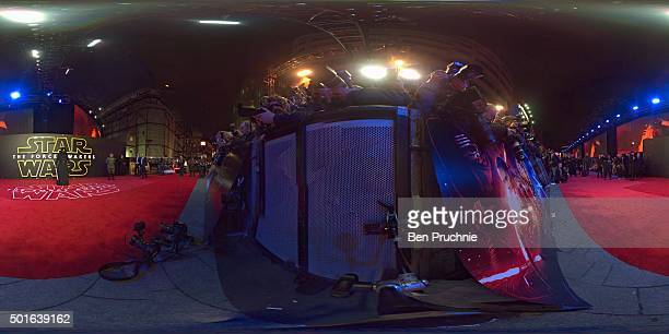 Kylo Ren attends the European Premiere of 'Star Wars The Force Awakens' at Leicester Square on December 16 2015 in London England