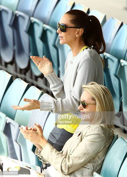 Kyly Boldy wife of Michael Clarke of the Blues applauds his half century during day two of the Sheffield Shield match between the Western Australia...