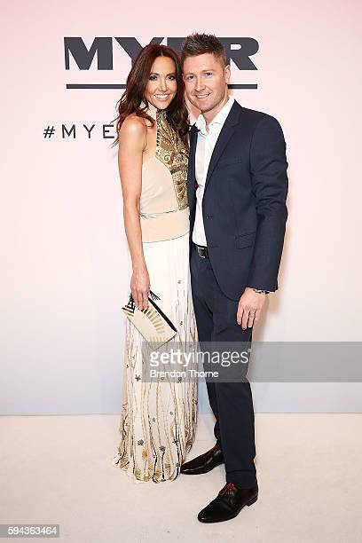 Kyly Clarke and Michael Clarke arrive ahead of the Myer Spring 16 Fashion Launch at Hordern Pavilion on August 23 2016 in Sydney Australia