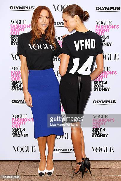 Kyly Clarke and Rachael Finch arrive at the launch of Fashion's Night Out at Hyde Park on September 4 2014 in Sydney Australia
