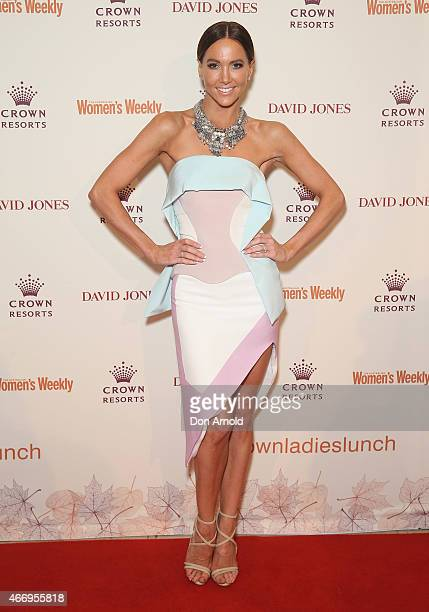 Kyly Clarke poses at the Crown's Autumn Ladies Lunch at David Jones Elizabeth Street Store on March 20 2015 in Sydney Australia