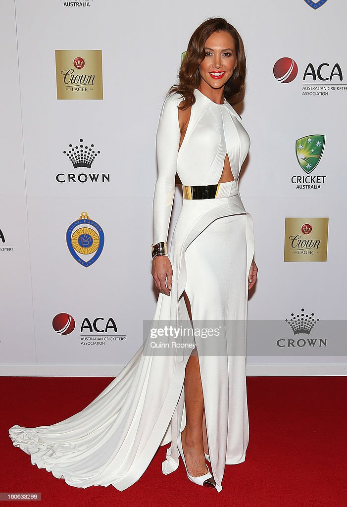 Kyly Clarke the wife of Michael Clarke of Australia arrives at the 2013 Allan Border Medal awards ceremony at Crown Palladium on February 4, 2013 in Melbourne, Australia.