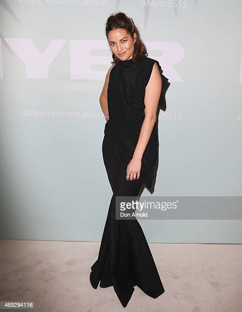 Kym Ellery arrives at the Myer Spring Summer 2014 Fashion Launch at Carriageworks on August 7 2014 in Sydney Australia