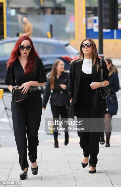 Kym Marsh and Kate Oates arrives at the funeral service of Martyn Hett who was killed in the Manchester Arena bombing at Stockport Town Hall Plaza