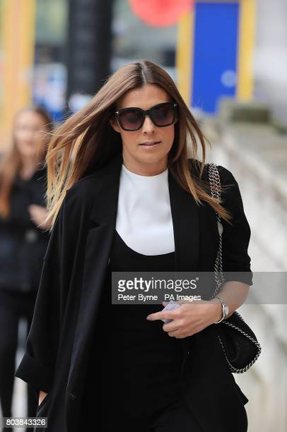 Kym Marsh arrives at the funeral service of Martyn Hett who was killed in the Manchester Arena bombing at Stockport Town Hall Plaza