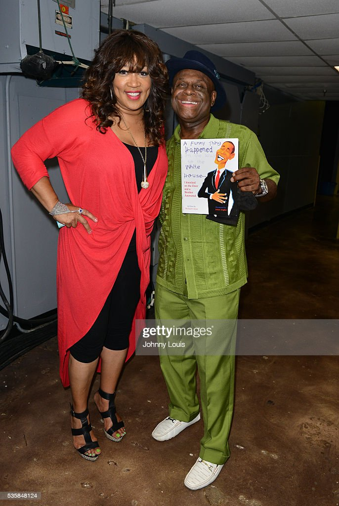Kym Whitley and Michael Colyar backstage at the 9th Annual Memorial Weekend Comedy Festival at James L Knight Center on May 29 2016 in Miami Florida