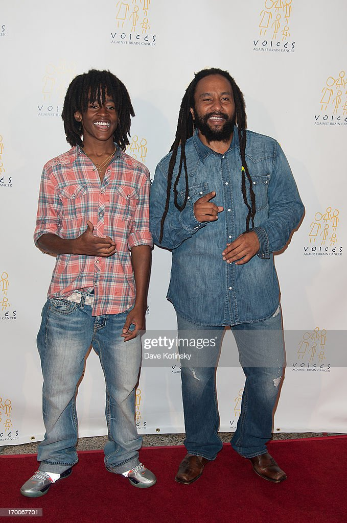 Ky-Mani Marley(R) and son attend 8th Annual 'Sounding Off For a Cure' Benefit Concert at Hammerstein Ballroom on June 6, 2013 in New York City.