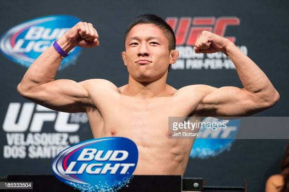 Kyoji Horiguchi weighs in during the UFC 166 weighin at the Toyota Center on October 18 2013 in Houston Texas