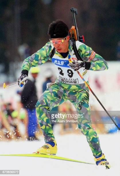Kyoji Suga of Japan competes in the Men's 10km Sprint during the IBU Biathlon World Cup Nozawa Onsen on March 8 1997 in Nozawaonsen Nagano Japan