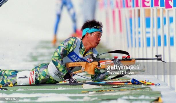 Kyoji Suga of Japan competes in the Men's 20km Individual during the IBU Biathlon World Cup Nozawa Onsen on March 6 1997 in Nozawaonsen Nagano Japan