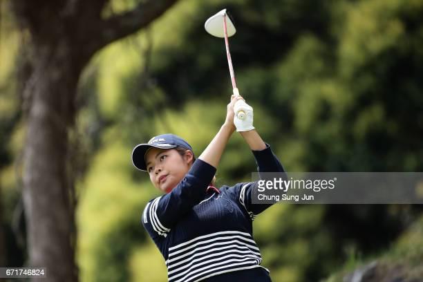 Kyoka Matsumori of Japan plays a tee shot on the 3rd hole during the final round of Fujisankei Ladies Classic at the Kawana Hotel Golf Course Fuji...
