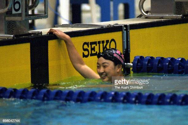 Kyoko Iwasaki celebrates winning the Women's 200m Breaststroke final during the 71st Swimming Japan Championships at the Midoricho park indoor...