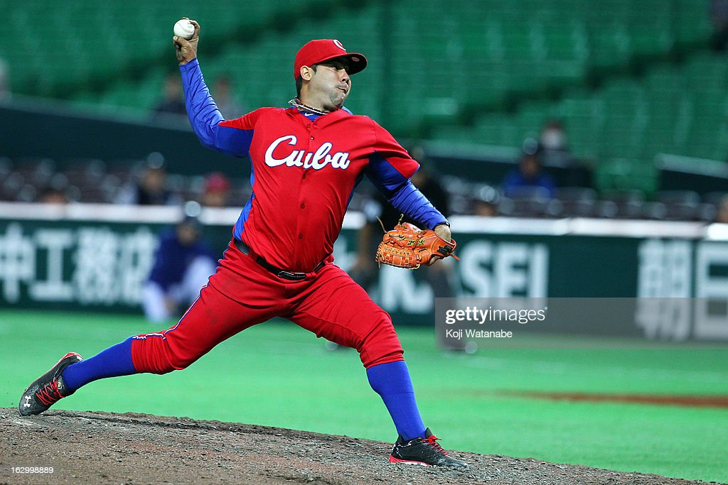 Kyosuke Takagi #28 of Yomiuri Giants pitches during the World Baseball Classic First Rond Group A game between Brazil and Cuba at Fukuoka Yahoo! Japan Dome on March 3, 2013 in Fukuoka, Japan.