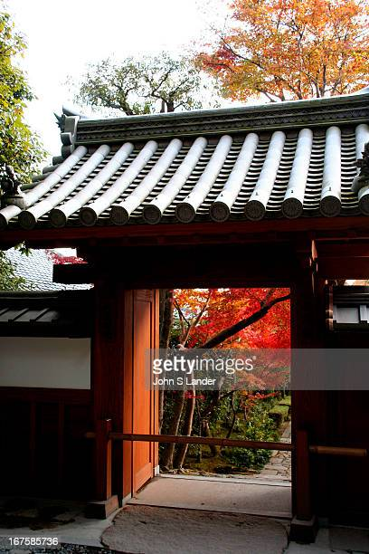 Kyoto Autumn Ryoanji Temple Gate A gate to the Ryoanji temple