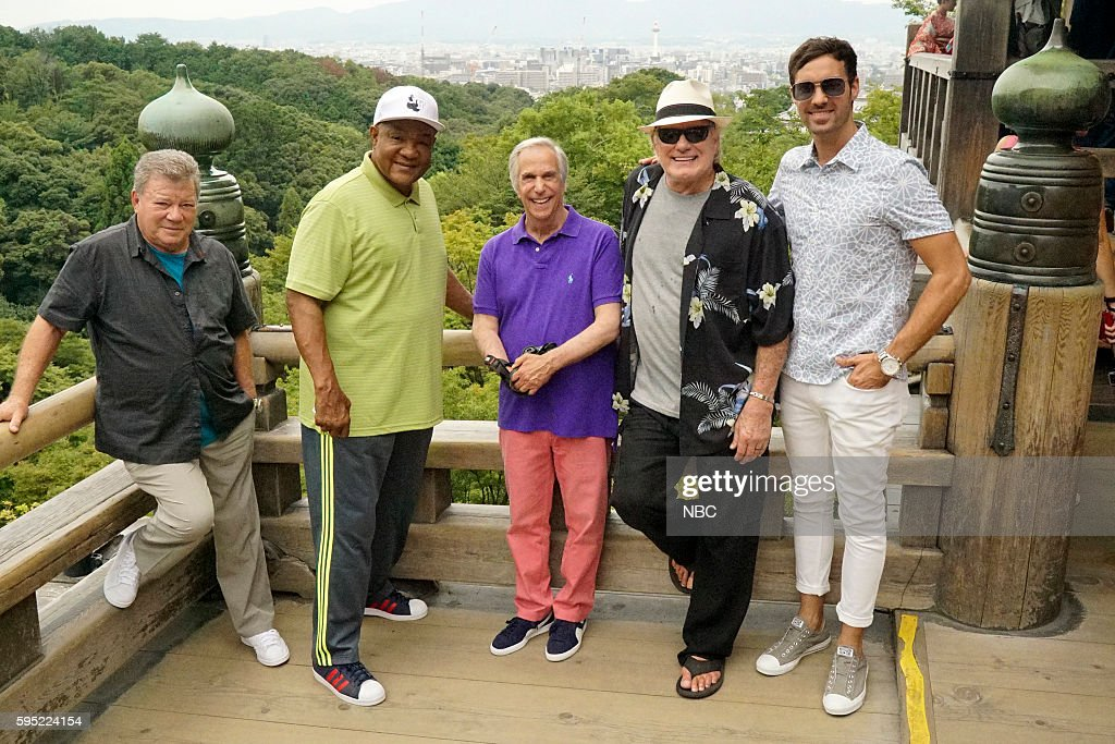 NEVER -- 'Kyoto, Japan' Episode 102 -- Pictured: (l-r) William Shatner, George Foreman, Henry Winkler, Terry Bradshaw, Jeff Dye --