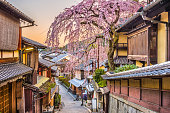 Kyoto, Japan springtime at the historic Higashiyama distirct.