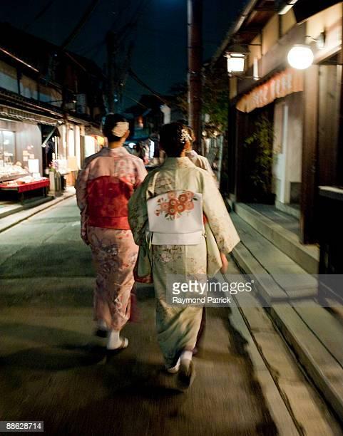 Kyoto street, girls walking kimonos