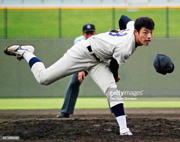 Kyoto University pitcher Eisuke Tanaka throws during the Kansai University Baseball league game against Kansei Gakuin University at Ojiyama Stadium...