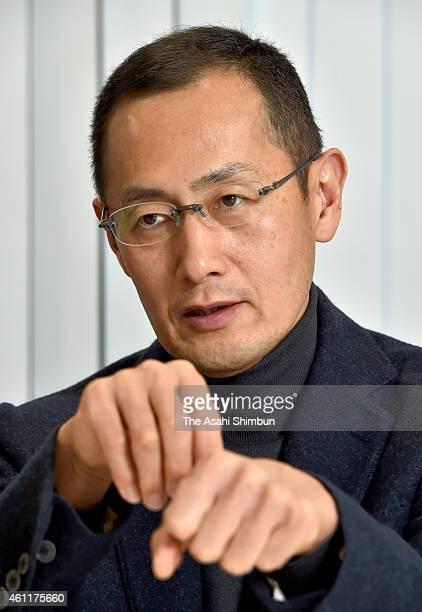 Kyoto University professor and 2012 Nobel Prize in Medicine laureate Shinya Yamanaka speaks during the Asahi Shimbun interview on December 22 2014 in...