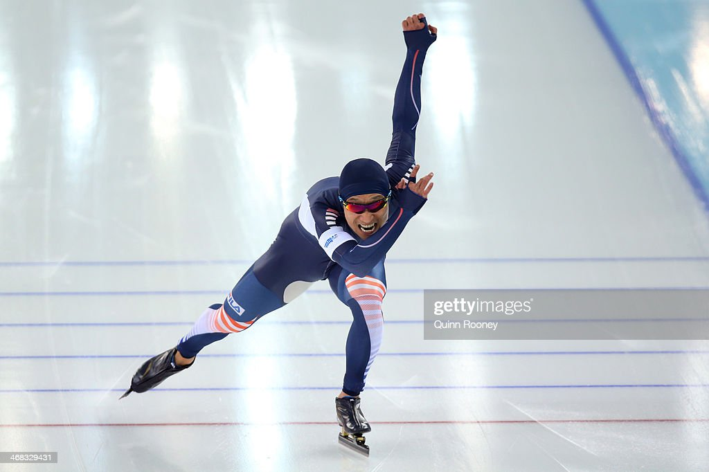 KyouHyuk Lee of South Korea competes during the Men's 500 m Race 2 of 2 Speed Skating event during day 3 of the Sochi 2014 Winter Olympics at Adler...