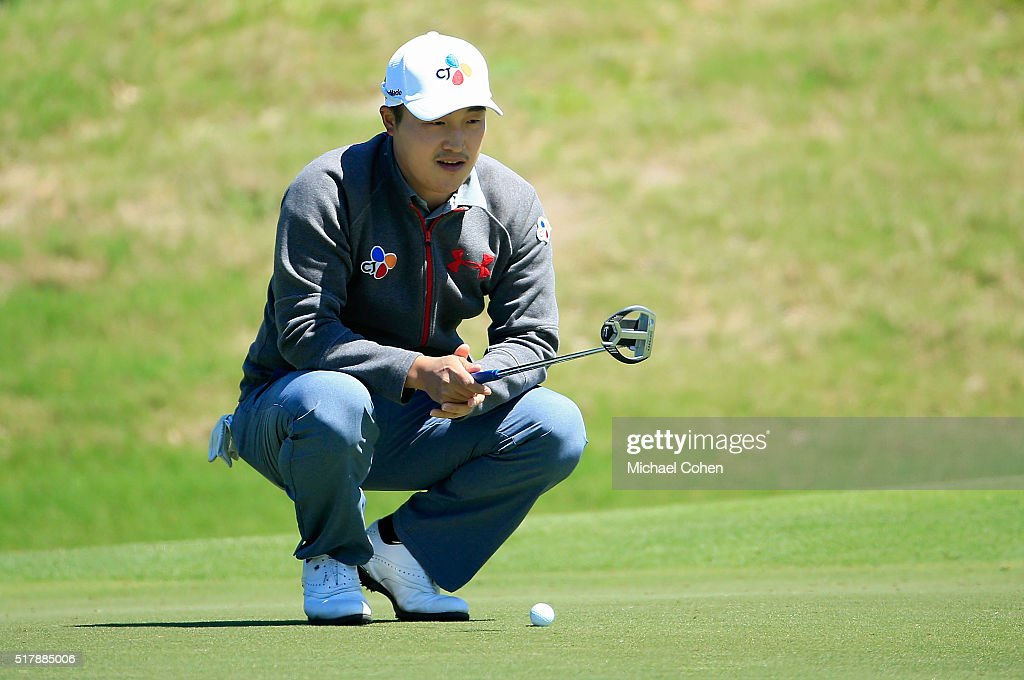 KyoungHoon Lee of South Korea lines up a putt during the final round of the Chitimacha Louisiana Open presented by NACHER held at Le Triomphe Golf...
