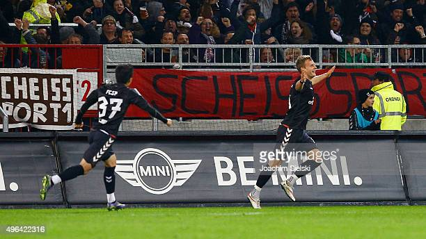 KyoungRok Choi and Goalgetter Lennart Thy of St Pauli celebration after the Goal 20 for St Pauli during the Second Bundesliga match between FC St...