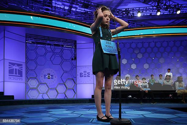 Kyra Holland of Warrenton Virginia participates in the finals of the 2016 Scripps National Spelling Bee May 26 2016 in National Harbor Maryland...