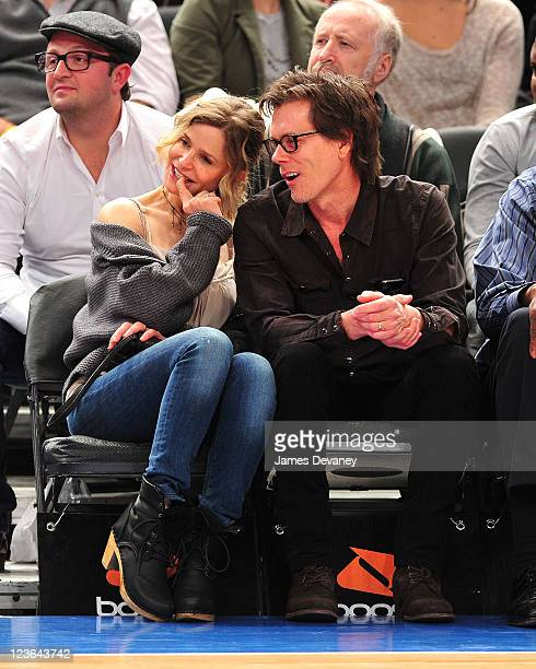 Kyra Sedgwick and Kevin Bacon attend the Boston Celtics vs New York Knicks game at Madison Square Garden on March 21 2011 in New York City