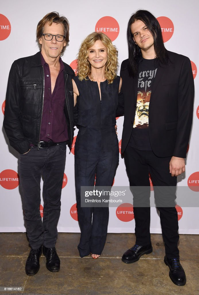 Kyra Sedgwick, Kevin Bacon and Travis Bacon attend the 'Story Of A Girl' screening at Neuehouse on July 17, 2017 in New York City.