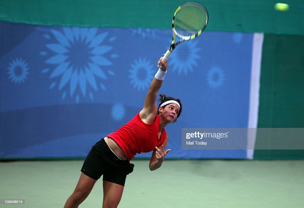 Kyra Shroff in action during the first match of the Asian closed Junior Tennis Championship against Ravnoor Kaur in New Delhi on May 24, 2010. Kyra won the match.