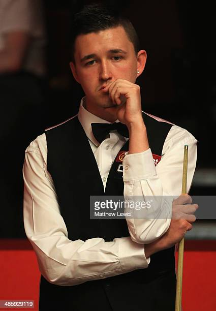 Kyren Wilson of England in action against Ricky Walden of England during day four of the The Dafabet World Snooker Championship at Crucible Theatre...