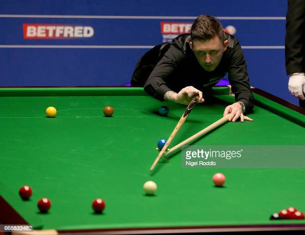 Kyren Wilson of England in action during his first round match against David Grace of England on day one of the World Championship Snooker at the...