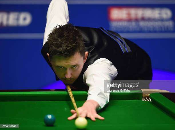 Kyren Wilson of England on his way to victory over Mark Allen of Northern Ireland during their second round match on day ten of the World Snooker...