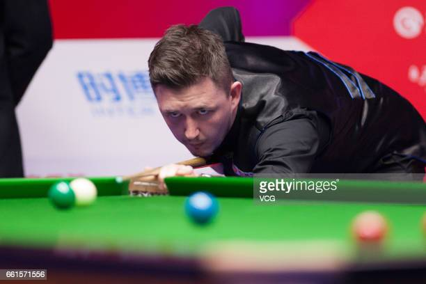 Kyren Wilson of England plays a shot in the quarterfinal match against Ding Junhui of China on day five of 2017 China Open at Peking University...