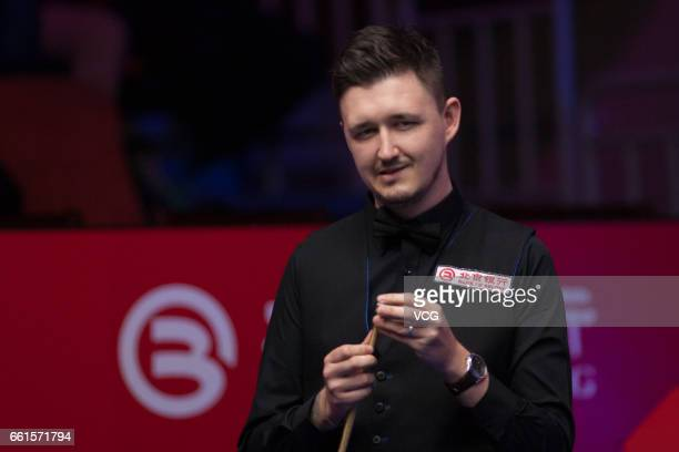 Kyren Wilson of England reacts in the quarterfinal match against Ding Junhui of China on day five of 2017 China Open at Peking University Students...