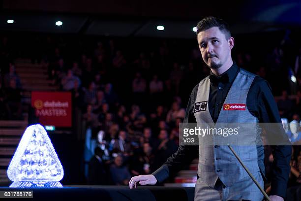 Kyren Wilson of England walks into the arena for his first round match against Ding Junhui of China on day one of the Dafabet Masters at Alexandra...